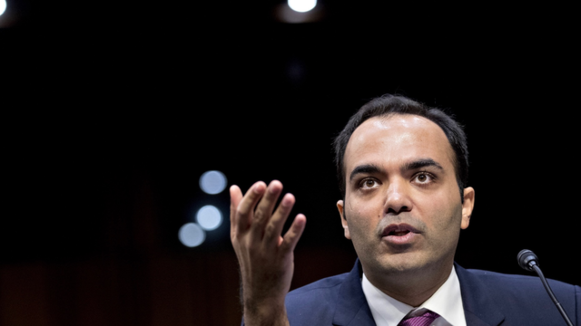 Rohit Chopra at his Senate confirmation hearing for the FTC role, in February 2018. Photo: Bloomberg
