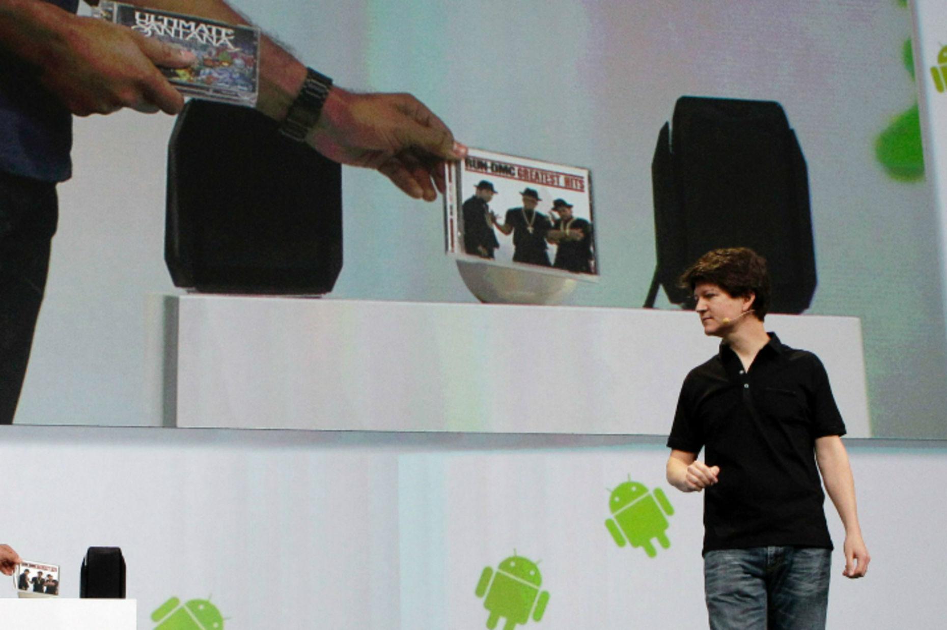 Former Google executive Joe Britt shows a prototype of Nexus Q in 2011. Photo by Associated Press.