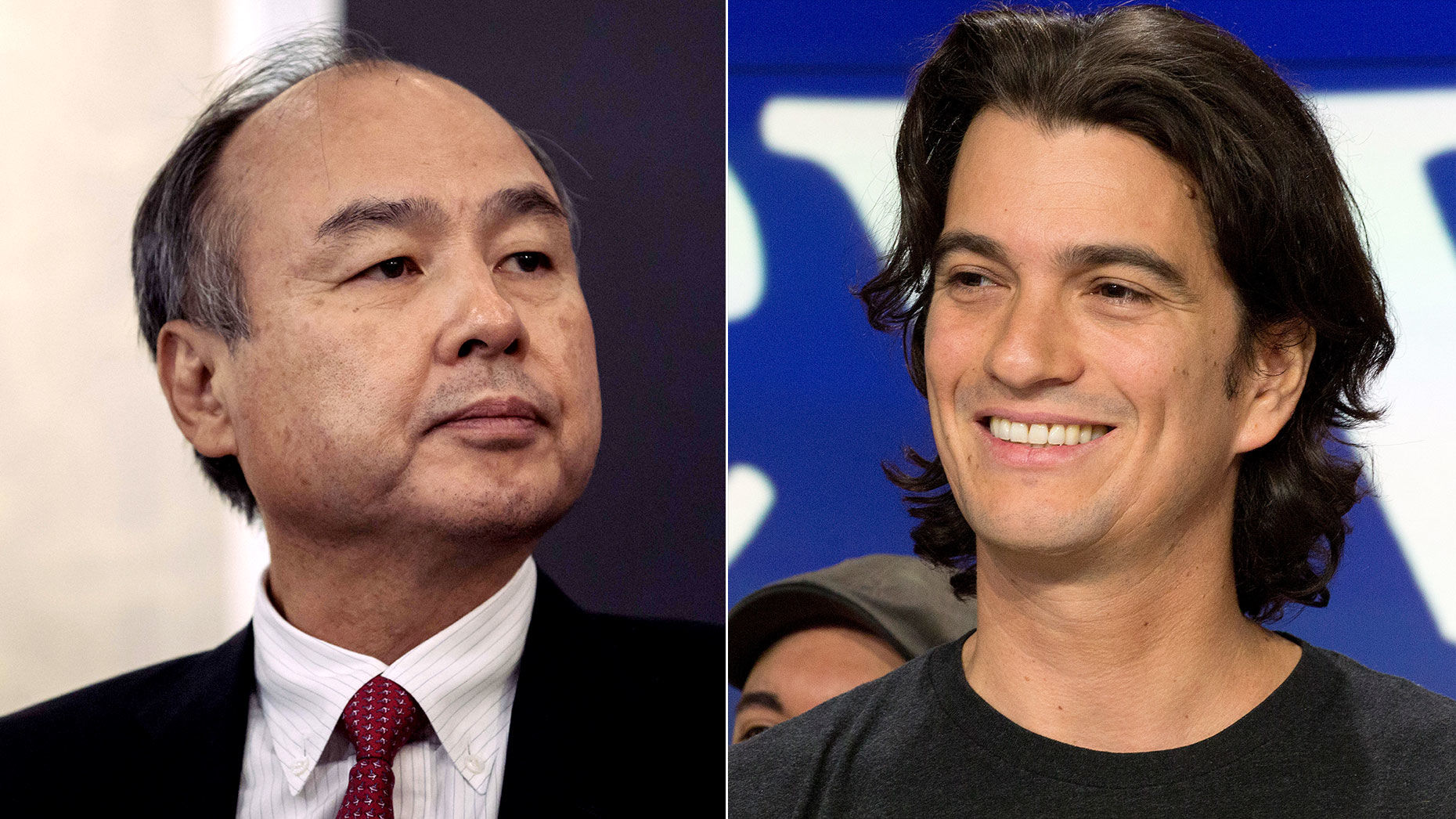 Masayoshi Son (left) and Adam Neumann. Photos by Bloomberg and AP.