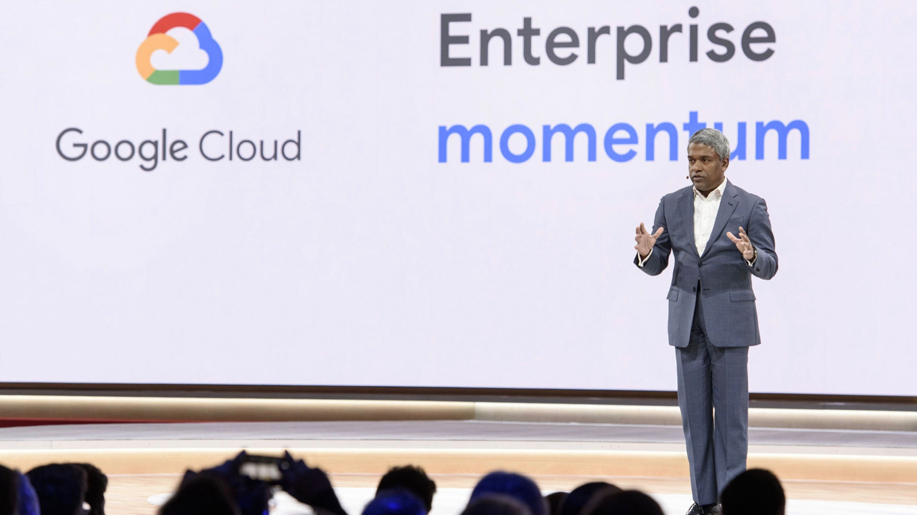 Google Cloud CEO Thomas Kurian at a company event in April. Photo by Bloomberg