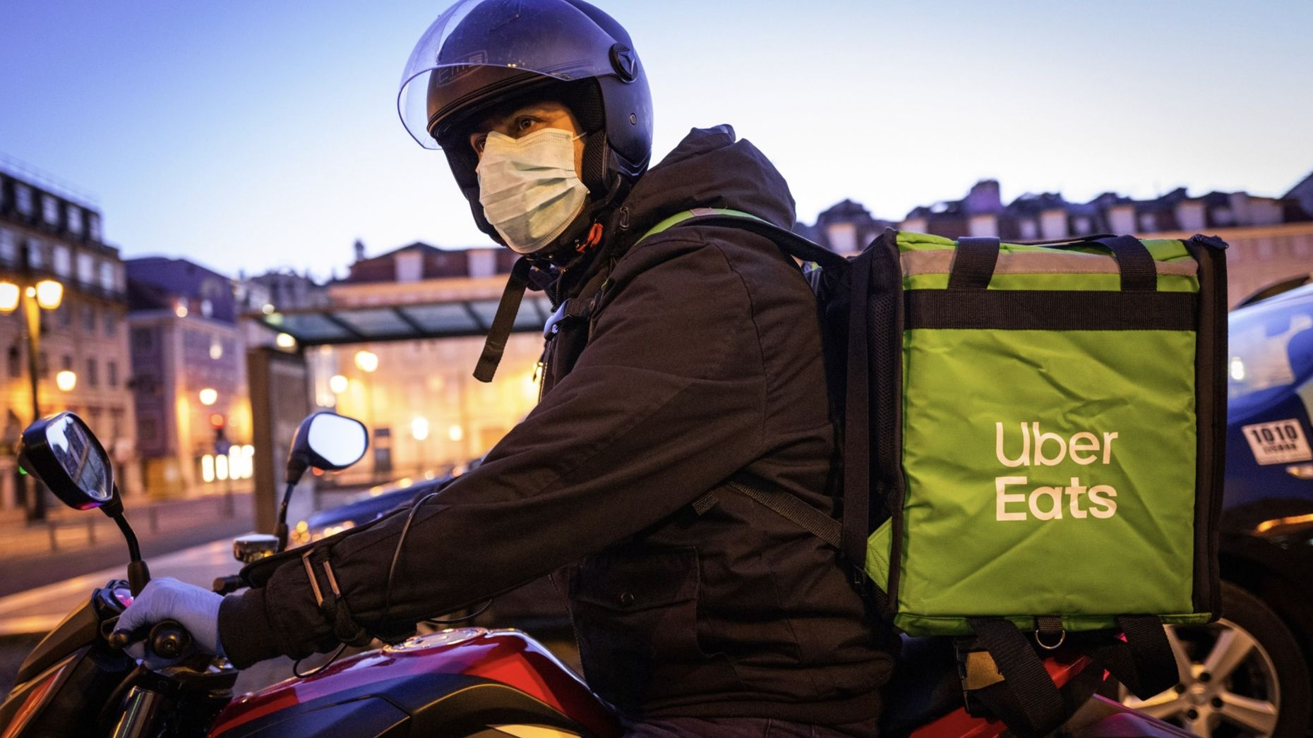 An Uber Eats courier in Portugal this past weekend. Photo by Bloomberg