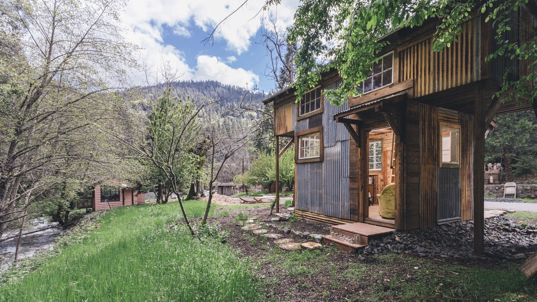 One of the houses in a Northern California town that Jane Dinh plans to use for her escape community.