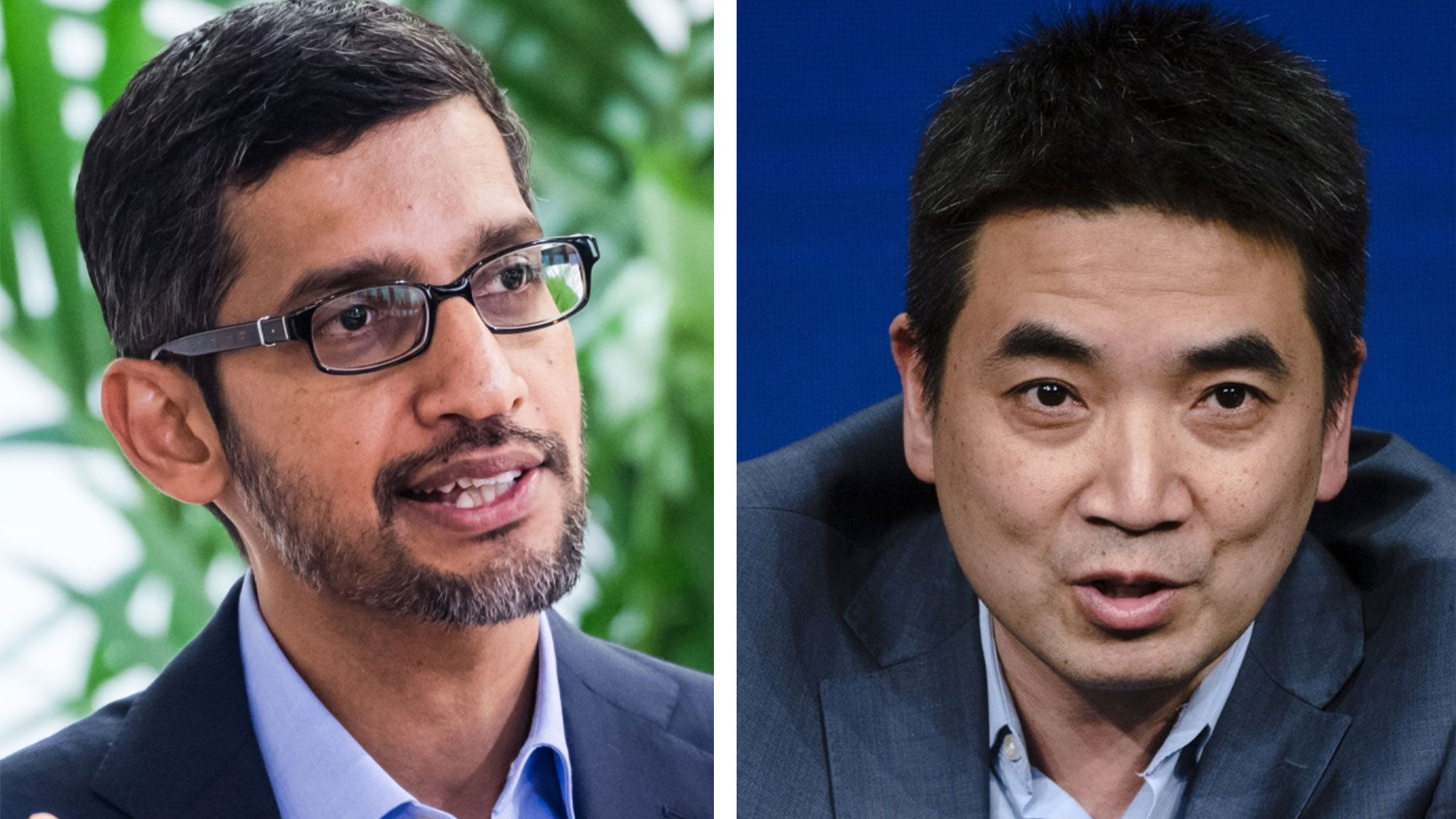 Sundar Pichai, CEO of Alphabet and Google, left, and Eric Yuan, CEO of Zoom. Photos by Bloomberg