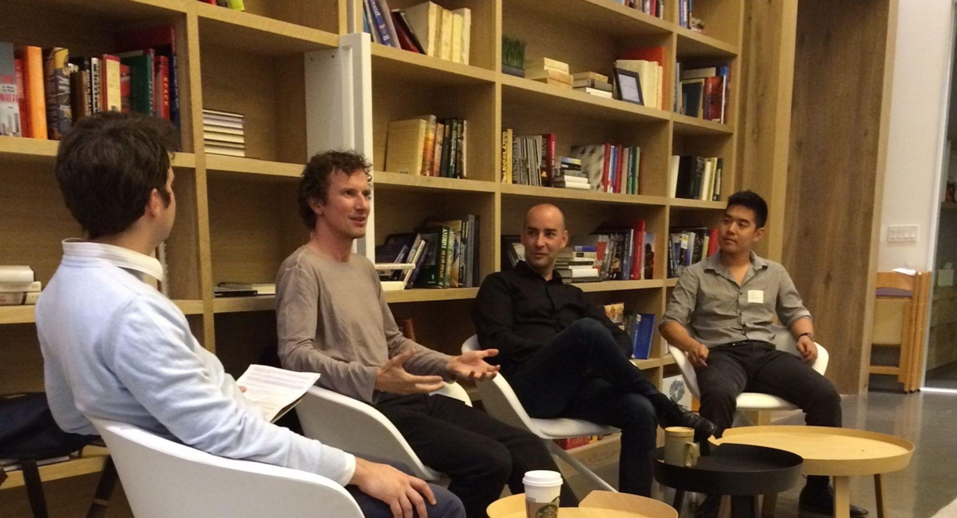 Left to right, Amir Efrati, Luke Nosek, Mark Palatucci and Paul Duan.