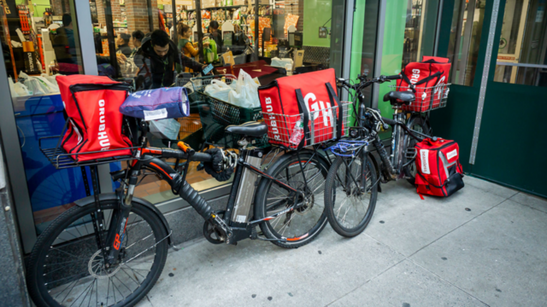 GrubHub delivery bicycles in New York City. Photo by Shutterstock