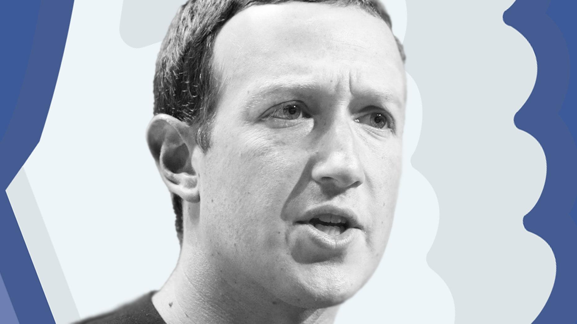 Facebook CEO Mark Zuckerberg. Photo by Bloomberg; art by Mike Sullivan.