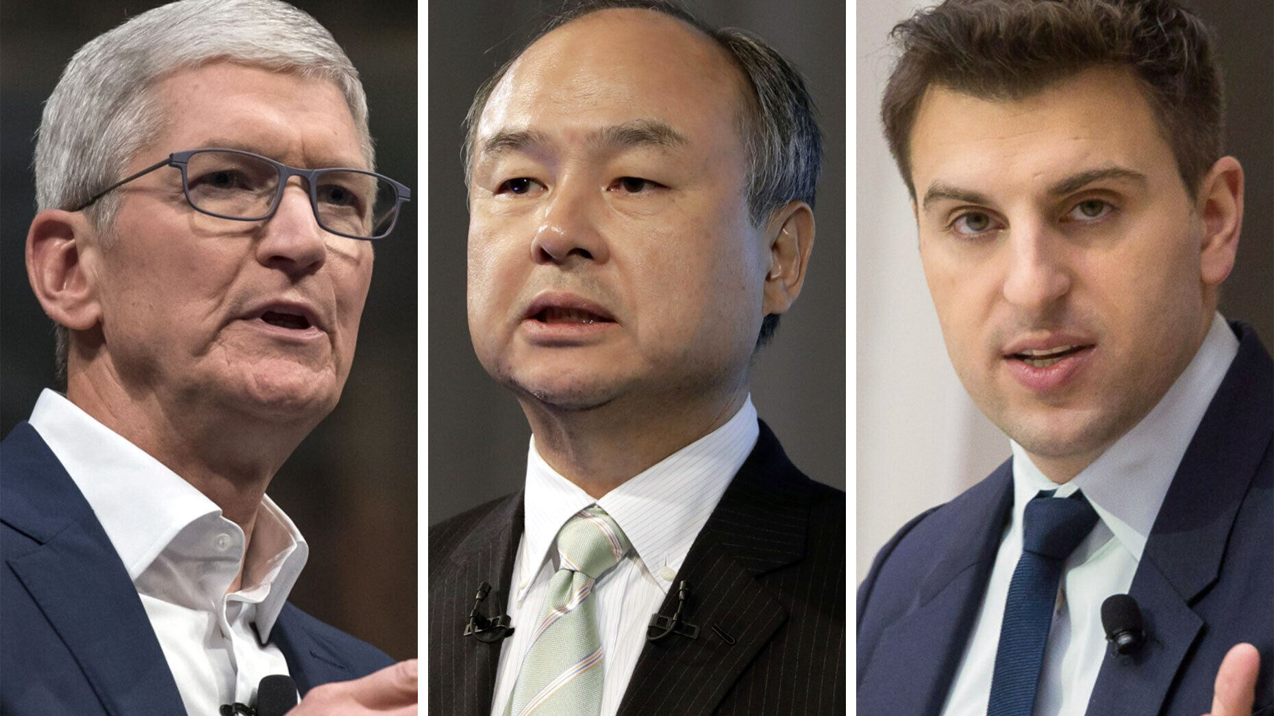 Tim Cook, Masayoshi Son and Brian Chesky. Photos: Bloomberg