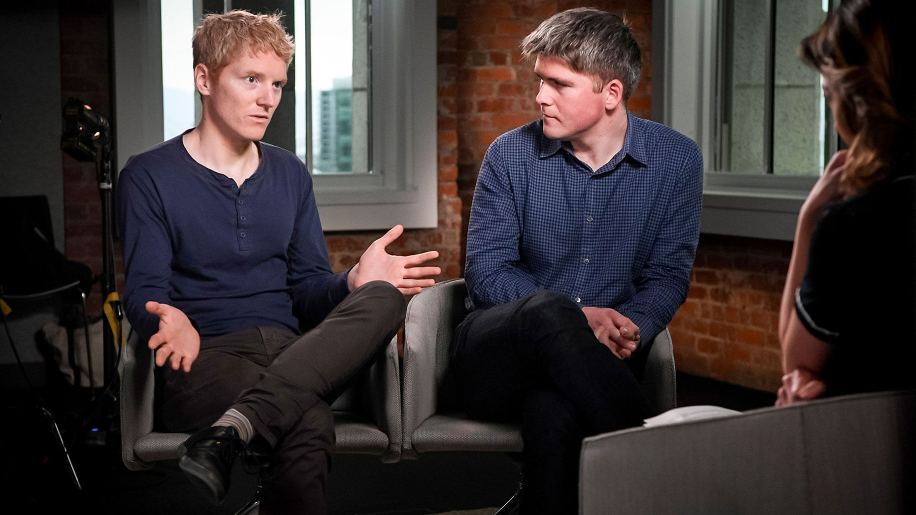 Patrick Collison, CEO and co-founder of Stripe, left, and John Collison, president and co-founder of Stripe, in 2018. Photo by Bloomberg.