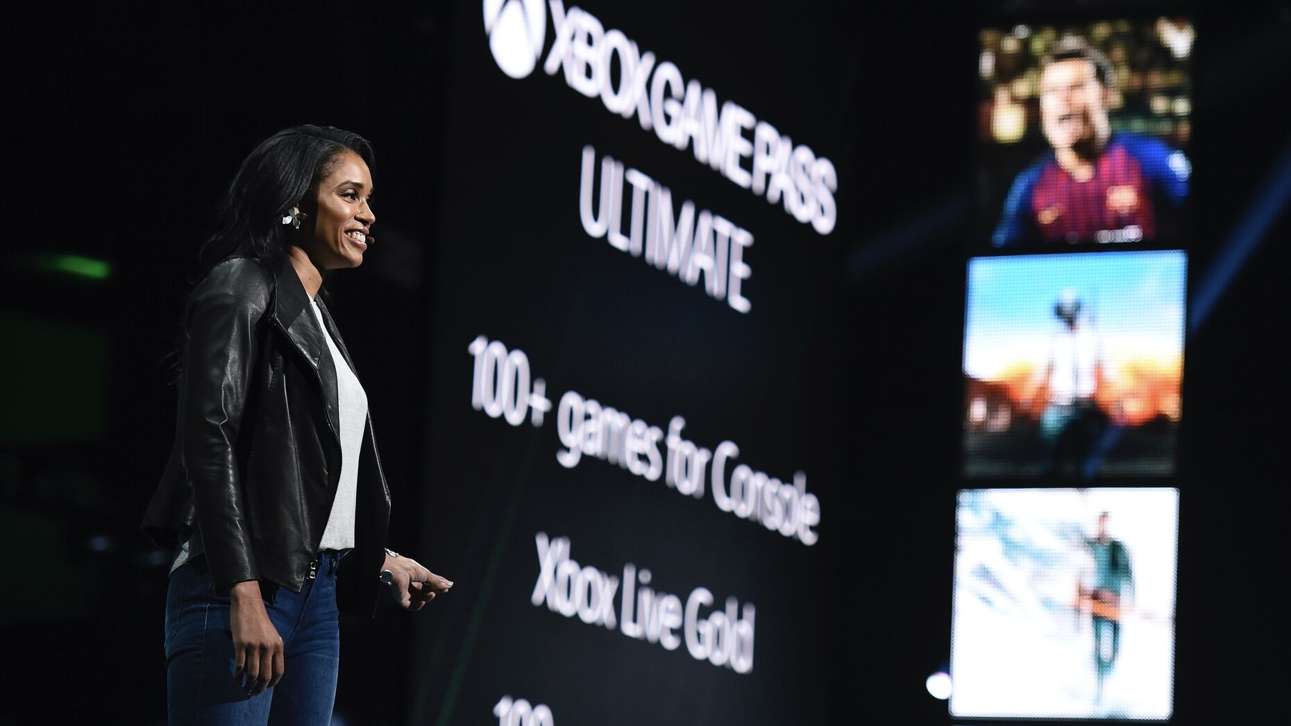 Sarah Bond, Head of Global Gaming Partnerships and Development, at an Xbox briefing last year. Photo by AP