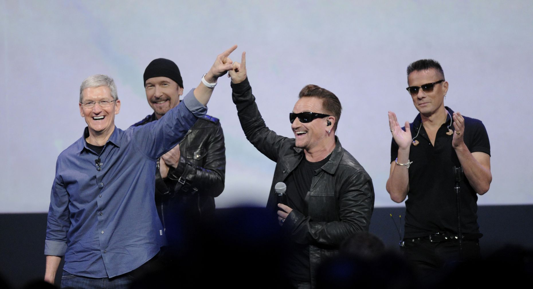 Apple CEO Tim Cook with U2. Photo by Bloomberg.