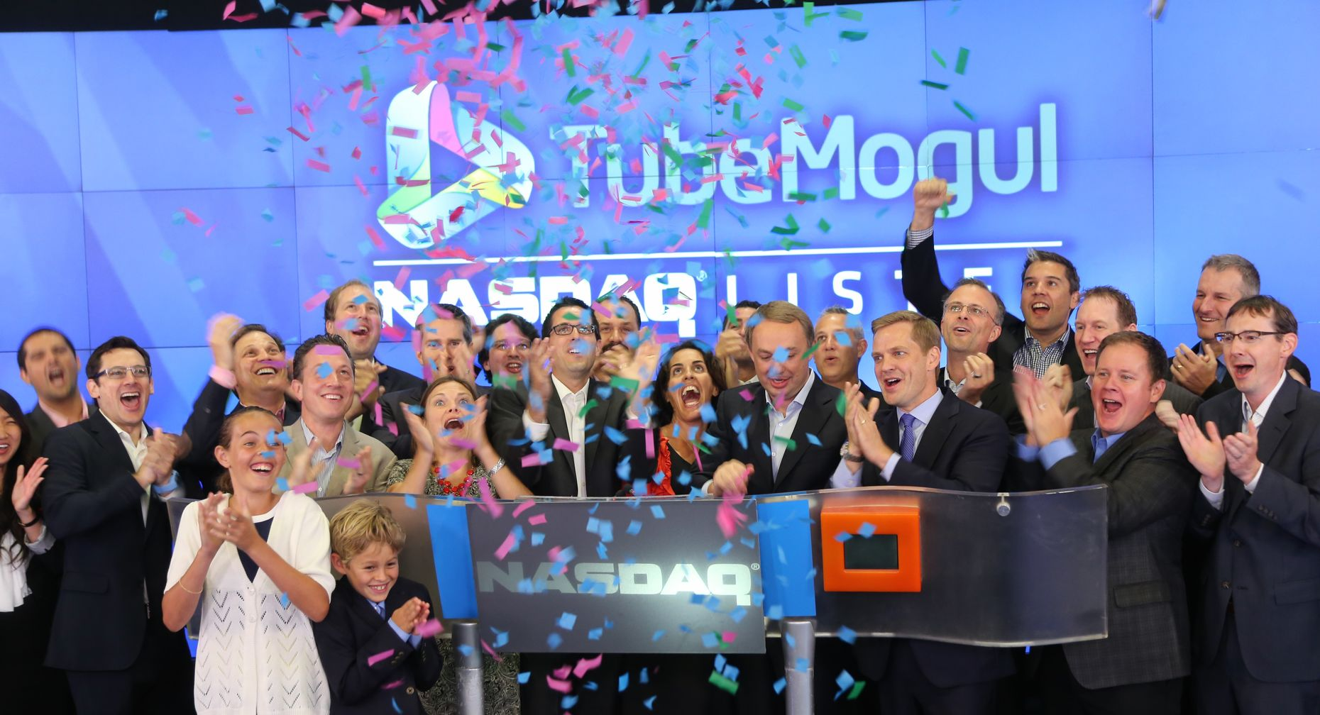 TubeMogul employees at their Nasdaq IPO in July. Photo by Nasdaq.
