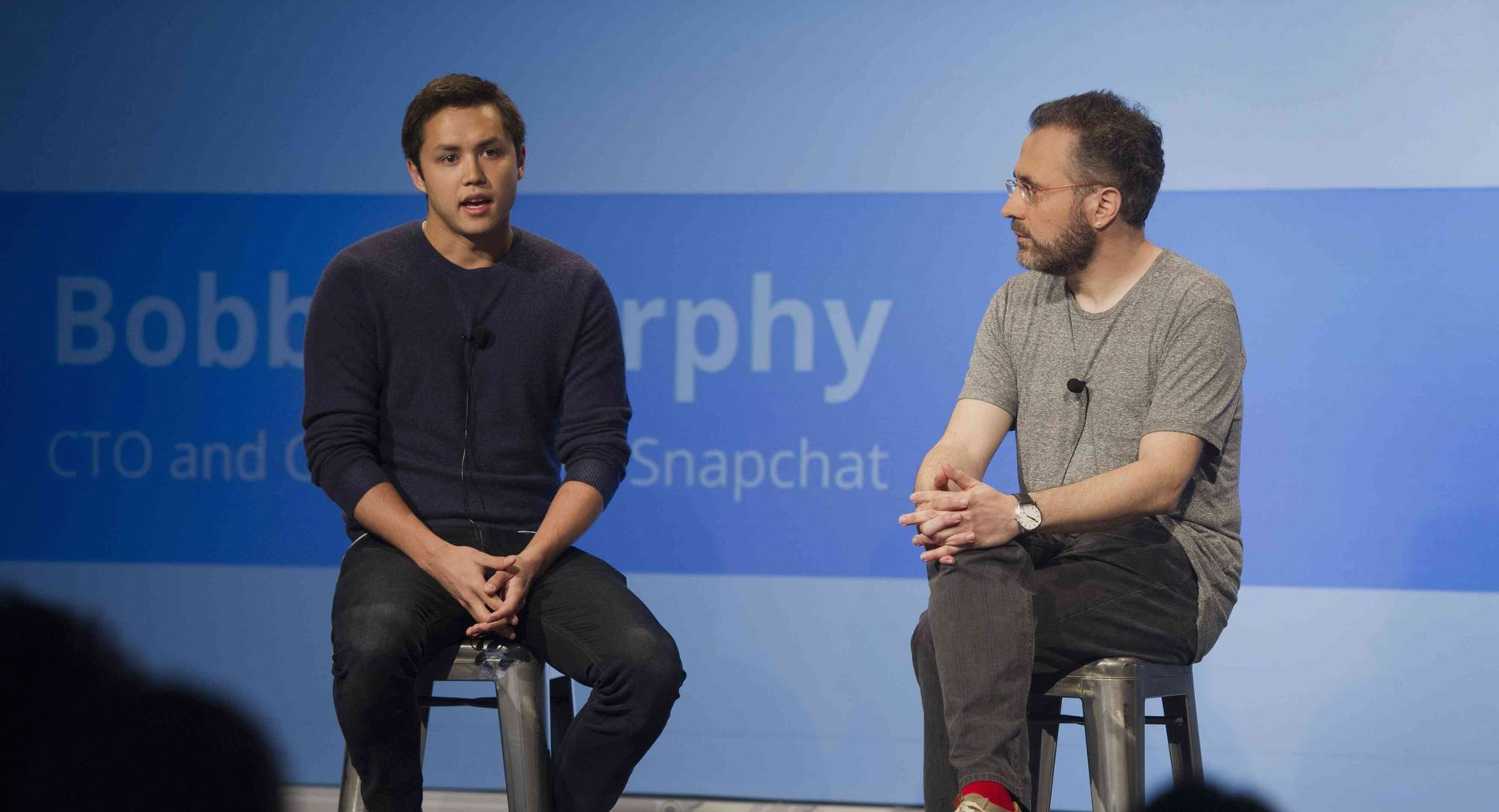 Snapchat co-founder Bobby Murphy with Google executive Urs Holzle. Photo by Bloomberg.