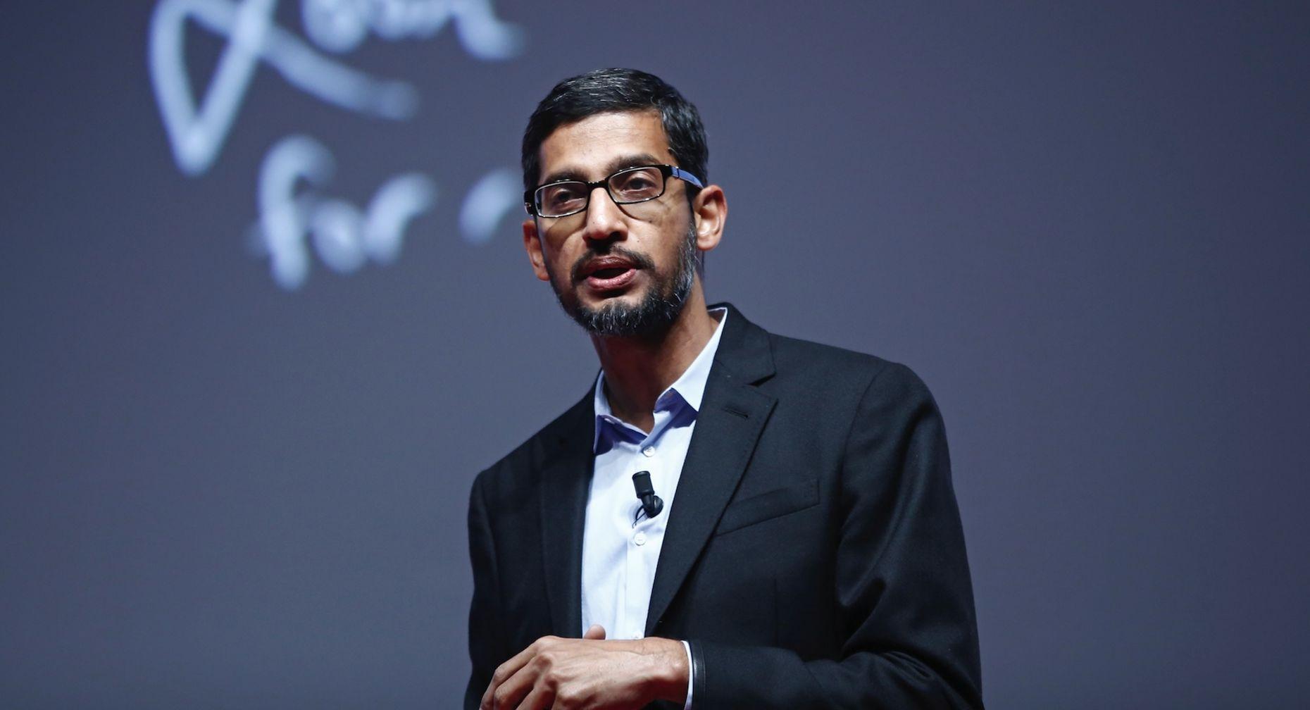 Google's No. 2 executive, Sundar Pichai, in Barcelona Monday. Photo by Bloomberg.