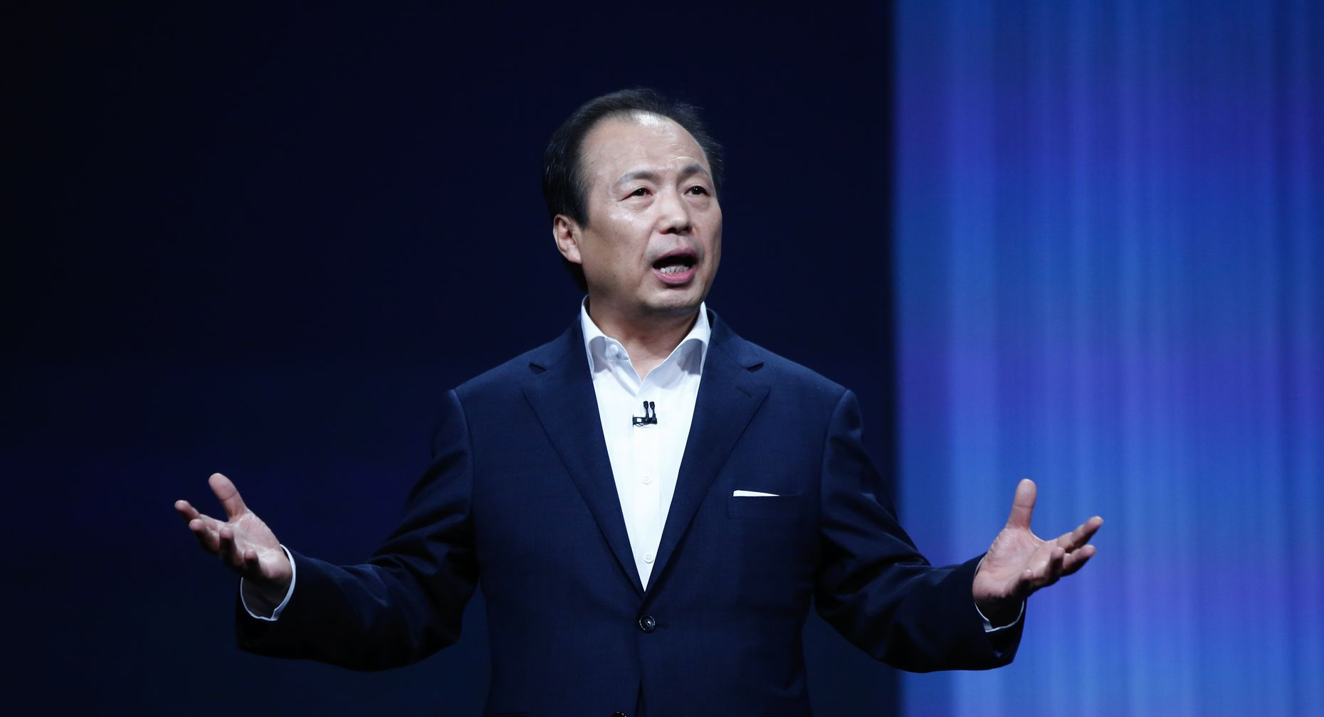 JK Shin, CEO of Samsung's mobile division, at Mobile World Congress last week. Photo by Bloomberg.