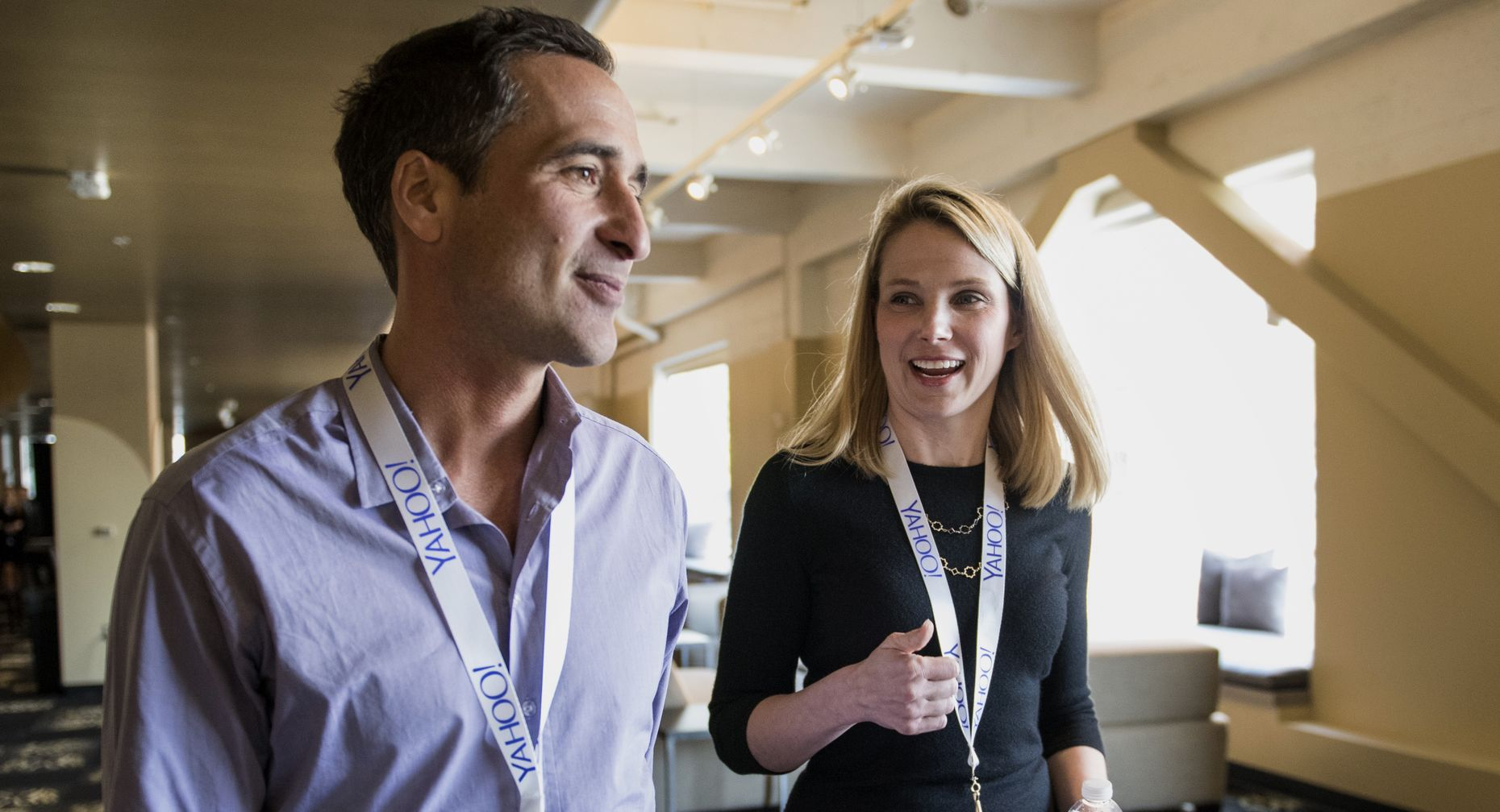 Yahoo CEO Marissa Mayer with Adam Cahan, mobile and emerging products group senior VP.