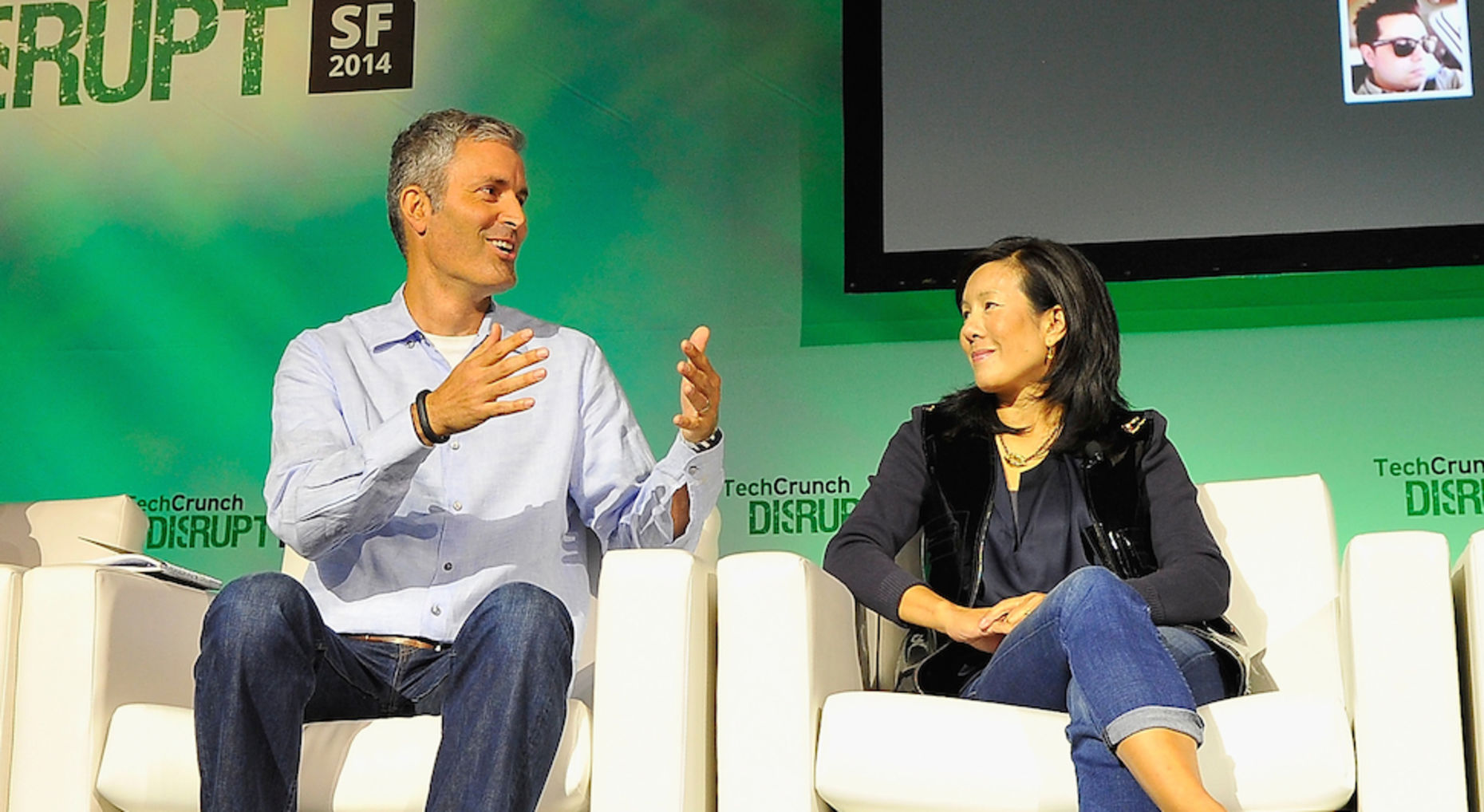 At left, James Slavet of Greylock Partners. Photo by TechCrunch.