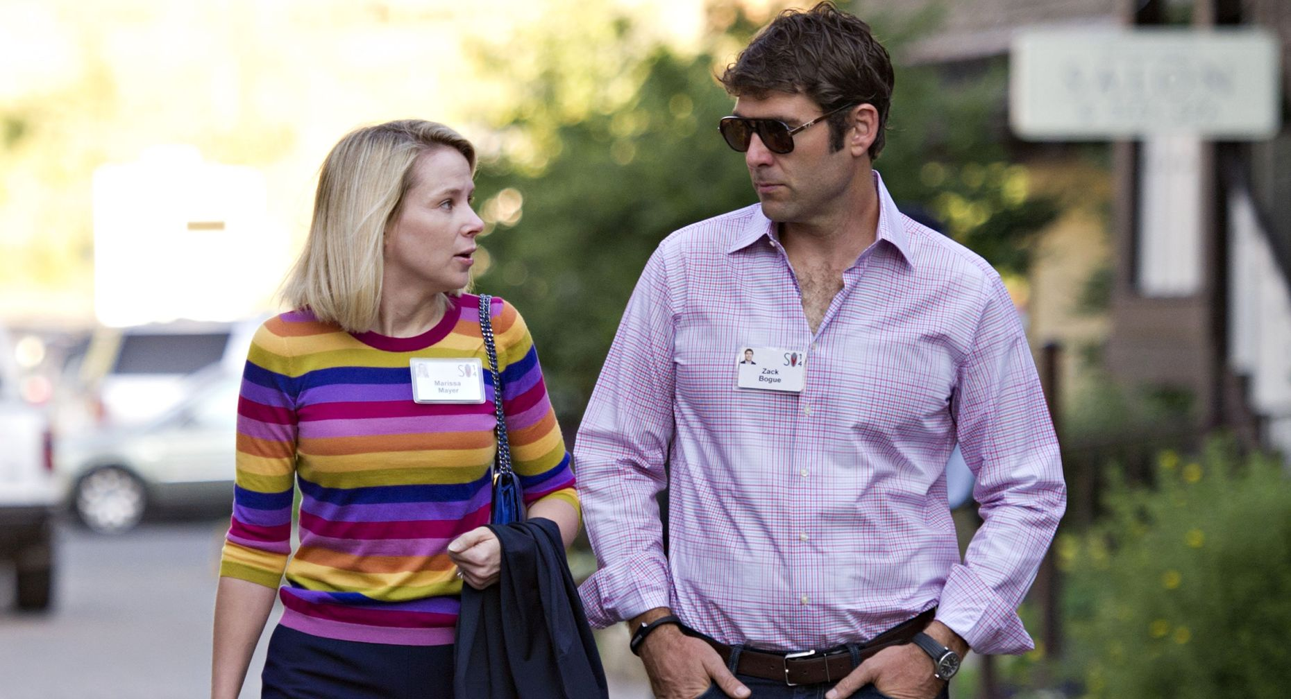 Yahoo CEO Marissa Mayer and husband Zachary Bogue at last year's Sun Valley. Photo by Bloomberg.
