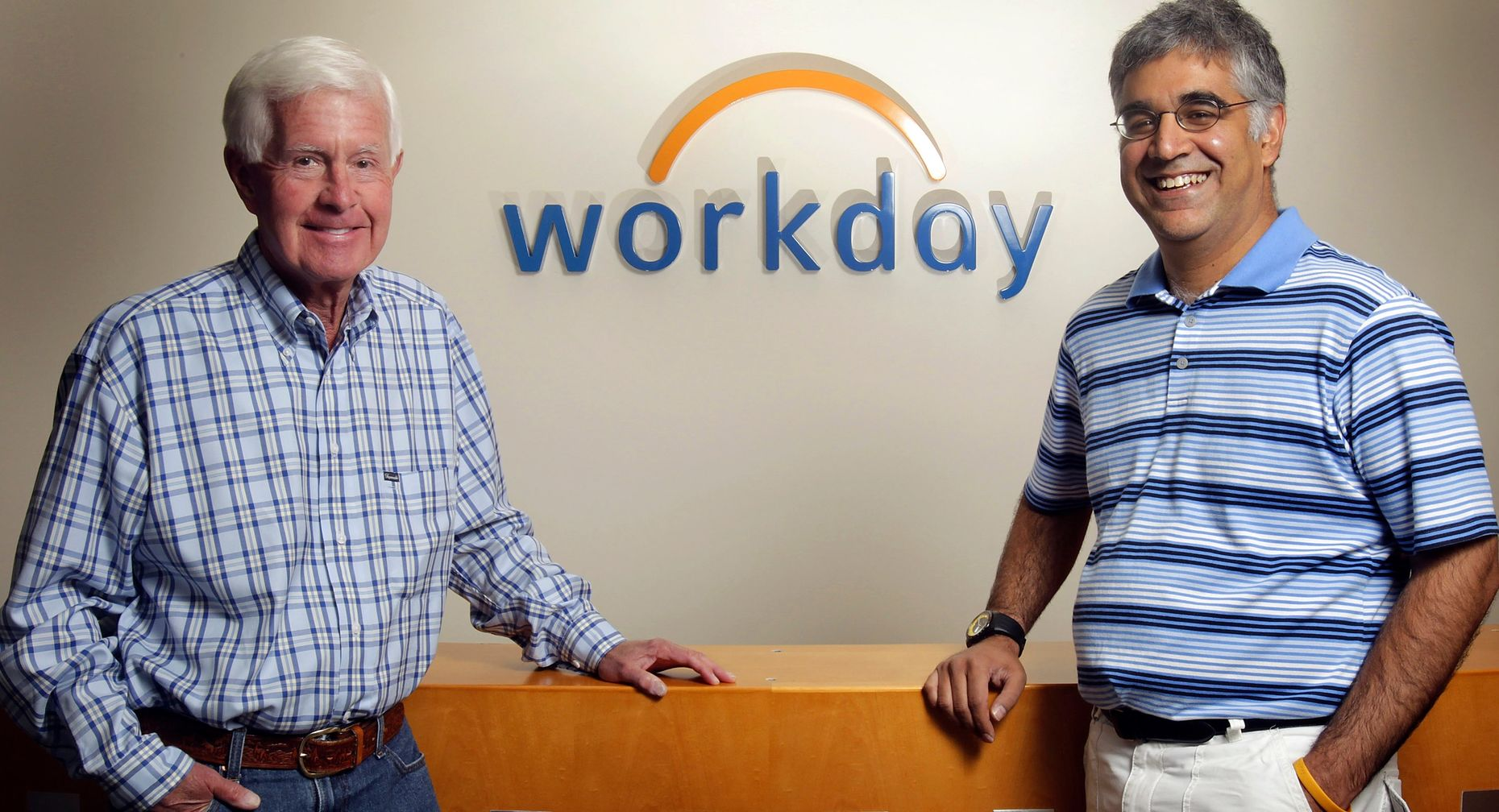 Workday co-founders David Duffield and Aneel Bhusri. Photo by Bloomberg.