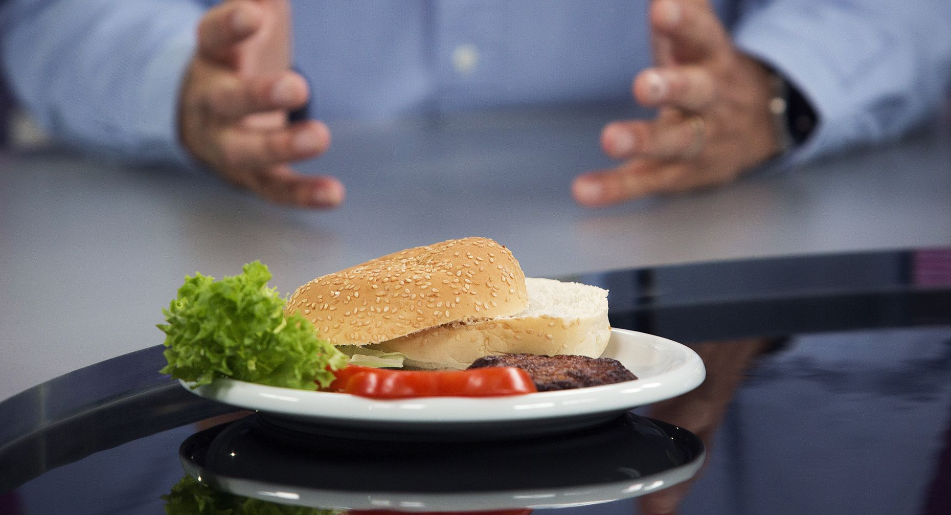 A Sergey Brin-backed synthetic burger. Photo by Bloomberg.