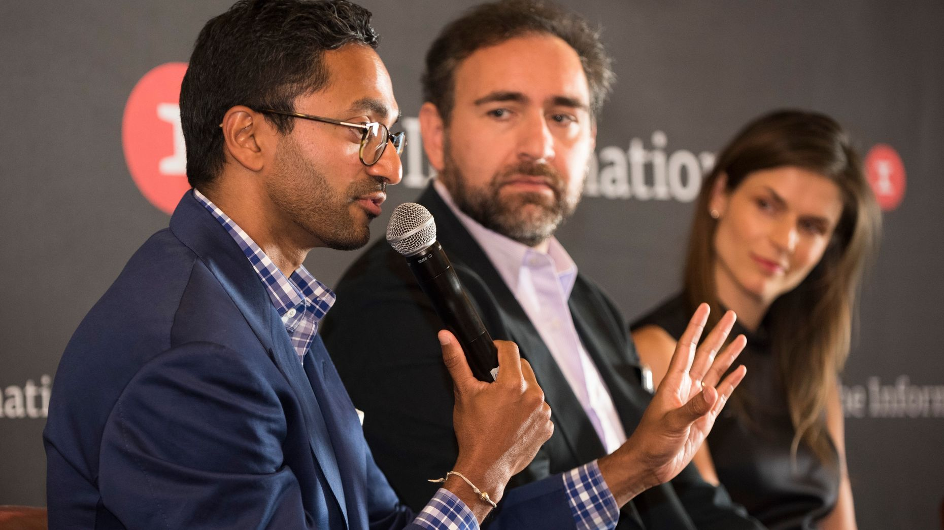 Chamath Palihapitiya, left, Ali Rowghani, center, and Lauren Gross, right. Photo by Erin Beach.